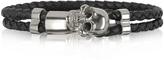 Forzieri Skull Silver Tone Brass and Leather Men's Bracelet