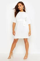 boohoo Liv Structured Tie Belt Waist Shift Dress