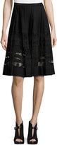 Elie Tahari Frances Pleated Lace-Paneled A-Line Skirt, Black