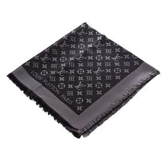 Louis Vuitton Chale Monogram shine Black Silk Scarves