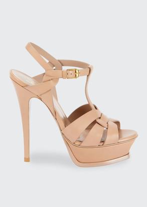 Saint Laurent Tribute Leather Stiletto Sandals