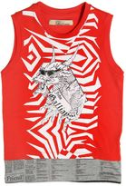 John Galliano Dragon Printed Cotton Jersey Top