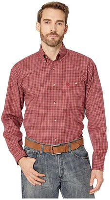 Wrangler George Strait Long Sleeve One-Pocket Plaid Button (Red) Men's Clothing