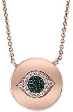 "Effy Blue & White Diamond Evil Eye 18"" Pendant Necklace (1/10 ct. t.w.) in 14k Rose Gold"