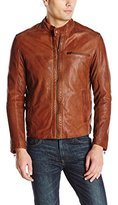 Cole Haan Men's Washed Lamb Leather Perforated Moto Jacket