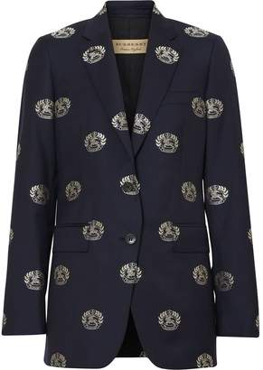 Burberry Fil Coupé Crest Wool Tailored Jacket
