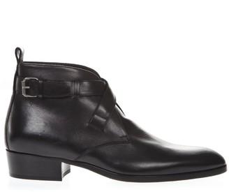 Saint Laurent Black Wyatt Leather Ankle Boots