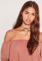 Missguided Khaki & Tan 2 Pack Faux Suede Choker Necklace