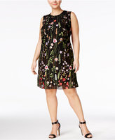 Calvin Klein Plus Size Floral-Embroidered Trapeze Dress