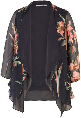 Chesca Floral Satin Devoree & Chiffon Layered Shrug