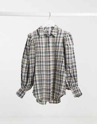 NA-KD puff sleeve oversized check shirt in brown