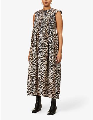 Ganni Sleeveless leopard-print cotton and silk-blend midi dress