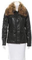 SAM. Fox-Trimmed Vegan Leather Jacket