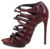 Balenciaga Snakeskin-Trimed Suede Sandals