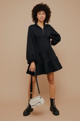 Topshop Black Peplum Sweatshirt Mini Dress with Zip