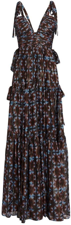 Ulla Johnson Lirra Printed Sleeveless Silk Gown