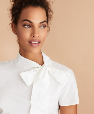 Brooks Brothers Bow-Neck Cotton Poplin Blouse