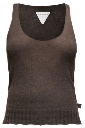 Bottega Veneta Scoop-neck Fine-knit Cashmere Tank Top - Dark Brown