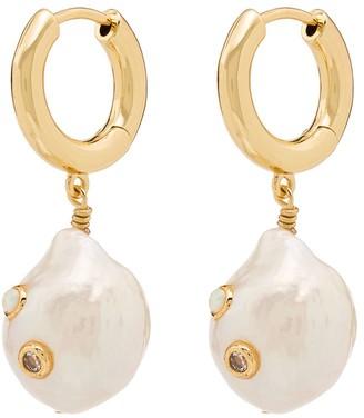 Anni Lu Gertrude pearl opal hoop earrings