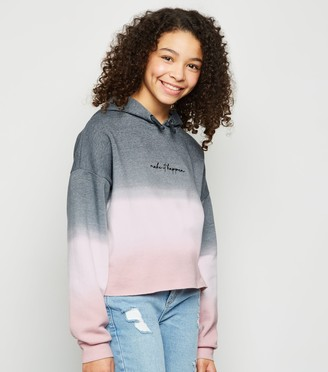 New Look Girls Light Ombre Slogan Hoodie
