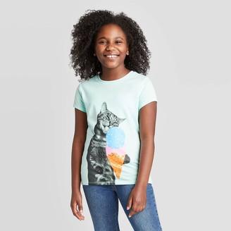 Cat & Jack Girl' hort leeve Ice Cream Cat Graphic T-hirt - Cat & JackTM Aqua