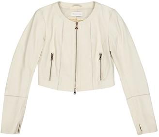 Patrizia Pepe Ecru Leather Jacket for Women