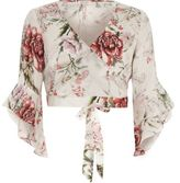 River Island Womens Cream floral wrap frill sleeve crop top