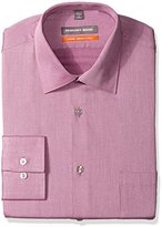 Geoffrey Beene Men's Textured Sateen Fitted Solid Spread Collar Dress Shirt