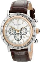 "Nautica Men's N15006G ""Spettacolare"" Two-Tone Stainless Steel Watch with Brown Leather Band"