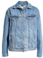 Topshop Oversize Crystal Seam Denim Jacket