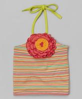 Mulberribush Coral Stripe Rosette Halter Top - Toddler & Girls