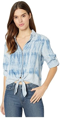 Bella Dahl Tie Front Button-Down (Crystal Blue) Women's Clothing