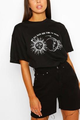 boohoo Sun Moon Slogan T- Shirt