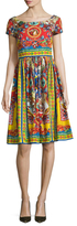 Dolce & Gabbana Printed Pleated Fit And Flare Dress