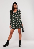 Missguided Green Floral Puff Sleeve Button Skater Dress