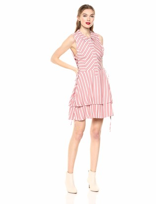 BCBGeneration Women's Striped Side Lace Dress