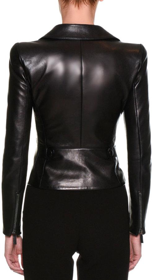 Giorgio Armani Lamb Leather Moto Jacket, Black