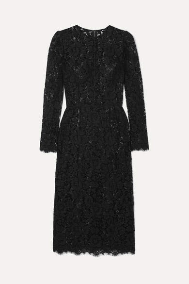 Dolce & Gabbana Lace Midi Dress - Black