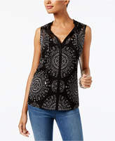 INC International Concepts Printed V-Neck Top, Only at Macy's