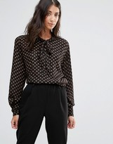 B.young Pussy Bow Blouse with Gold Spots
