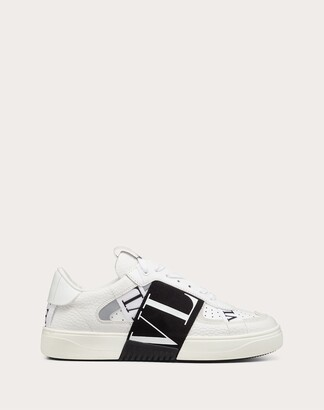 Valentino Vl7n Sneaker In Banded Calfskin Leather Women White/ Black Polyurethane 55%, Cotton 45% 35