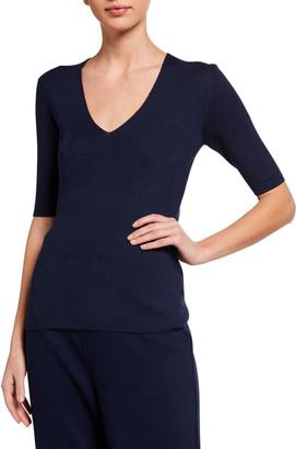 St. John Luxury Ribbed Wool/Silk V-Neck Sweater