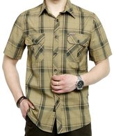 RubySports Men Clothing Rubysports Mens military uniform Plaid Casual Short Sleeve Dress Shirt ArGr 5X