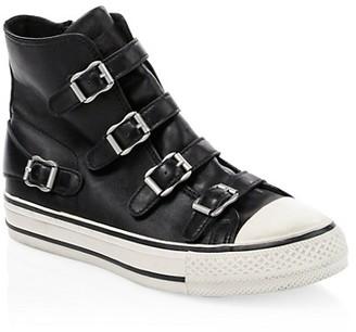Ash Virgin Leather Buckle High-Top Sneakers