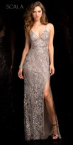 Scala Tri-tone Sequin Embellished High Slit Prom Dress