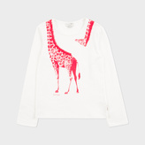 Paul Smith Girls' 7+ Years Cream 'Giraffe' Print T-Shirt With Fringing
