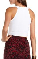 Charlotte Russe Mesh Inset Textured Crop Top