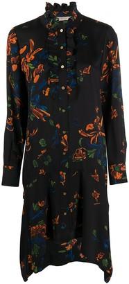 Tory Burch Floral Print Ruffle Collar Dress