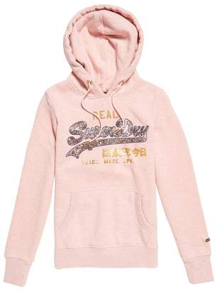 Superdry Vintage Logo Sequin Outline Slip-On Hoodie in Cotton Mix with Pocket