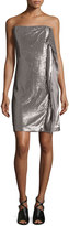 Halston Strapless Sequin Dress W/Side Ruffle, Taupe/Silver